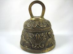 VTG ANTIQUE SOLID BRASS PEERAGE SERVICE TABLE BELL-LATIN-MADE IN ENGLAND-STAMPED