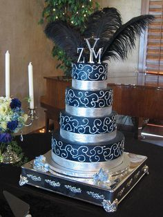 Blue and Silver Wedding Cake photo by Graceful Cake Creations from Flickr at Lurvely