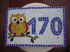 owl house number mosaic