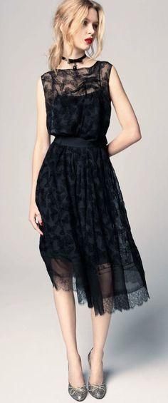 Nina Ricci gorgeous black lace dress