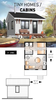 tiny house floor plans ~ House Plans / house floor plans one level Tiny Cabins, Tiny House Cabin, Tiny House Living, Small House Plans, Cabin Floor Plans Small, Tiny Guest House, Modern Cabins, Cottage House, Open House