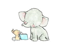 Baby Art STORYBOOK Archival Print by trafalgarssquare on Etsy now I almost started to cry because I was do happy this cuteness exists! Illustration Mignonne, Cute Illustration, Elephant Art, Baby Elephant, Art Mignon, Baby Art, Nursery Prints, Nursery Artwork, Cute Drawings