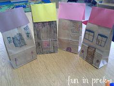 Paper Bag Houses art project for Families/Neighborhood Theme