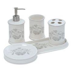 SET 5 Pièces Accessoire Salle DE Bain Porcelaine EAU DE Rose Déco DE Charme…
