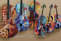 Painted violins and cellos