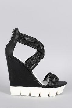f20d2ec60661 Bamboo Mesh Lug Sole Platform Wedge Shoe Boots