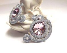 Soutache earrings studs Grey yellow soutache earrings Soutache jewelry Stud…