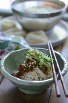 Korean vermicelli noodles topped with simple beef sauce and fresh cucumber. Perfect simple meal for warm days