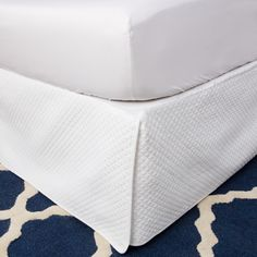Dress up the look of your bedding with this elegant quilted bed skirt. It has a generous 18-inch drop, which allows you to store items out-of-sight under your bed, and the beautiful quilted diamond pattern will add texture to your bedding.