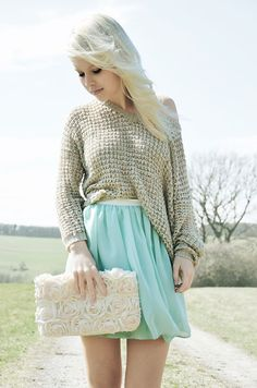Knitted chunky sweater..blue flowy skirt