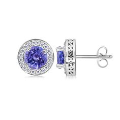 Angara Oval Tanzanite Flower Stud Earrings with Diamond Halo in Yellow Gold