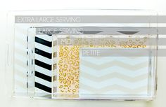 lucite serving trays.