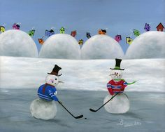 Montreal Canadiens vs Toronto Maple Leafs snowman NHL hockey. Rocket Maurice Richard vs Ted Teeder Kennedy NHL Original Six Painting Hilly