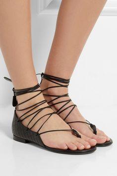Bottega Veneta|Embossed leather sandals|NET-A-PORTER.COM
