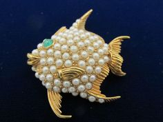 Signed Ciner Smiling Fish Figural Brooch