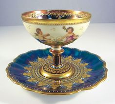 19th Century Dresden Lamm Porcelain Cup and Saucer