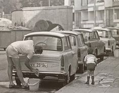"furtho: ""Cleaning the Trabant (via here) "" - My old classic car collection East German Car, Ddr Brd, Funny Bumper Stickers, Old Vintage Cars, Old Classic Cars, East Germany, Automotive Art, Life Pictures, Cleaning"