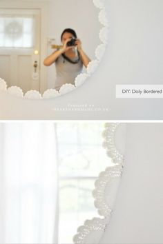DIY Doily Mirror - If you want to see other vintage doily crafts for kids and adults alike then click through to see the rest of the roundup!