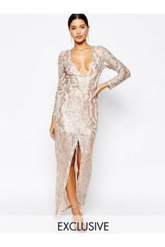Women Maxi Dresses - Club L Sequin Maxi Dress with Plunge Back and Long sleeves