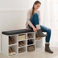 Storage and organization Schuhschrank mit Sitzkissen weiß Treat yourself and your windows. Shoe Rack Living Room, Cleaning Granite Countertops, How To Clean Granite, Cushions Online, Shoe Cabinet, Shoe Organizer, Light Oak, Shoe Storage, Seat Cushions