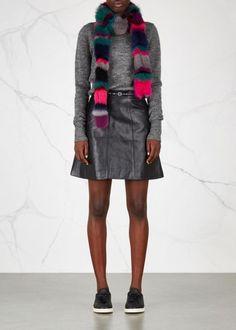 Exclusive to Harvey Nichols Charlotte Simone multicoloured fox fur scarf Striped…