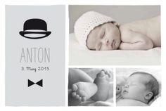 Geburtskarte Gentleman by Marion Bizet für www.geburtskarten.com #Babykarte #Hut #Fliege