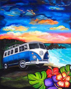 Road Trip by Melody Smith by UrbanArtByMelody on Etsy Vw Bus, Volkswagen, Kombi Hippie, Combi Ww, Art Plage, Deco Disney, Bus Art, Urbane Kunst, Day Of The Dead Art