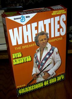 evel knievel | EVEL KNIEVEL CEREAL BOX  We used to watch all of his jumps and hope for the best all the time.