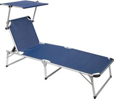 Adjustable Beach and Patio Lounge Chair with Sun Shade by Trademark Innovations (Blue)