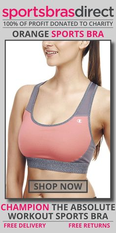 Get drier, cooler comfort in this medium impact, wirefree, pullover sports bra featuring a racer back and compressive fit. The Absolute Workout Orange Sports Bra by Champion does it all — delivers drier, cooler comfort, plus a compressive fit for support. Shop Now! #bra #sportsbra #orange #orangebra #orangesportsbra