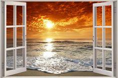 3d ocean view mural | Huge-3D-Window-Exotic-Ocean-Beach-View-Wall-Stickers-Film-Art-Decal ...