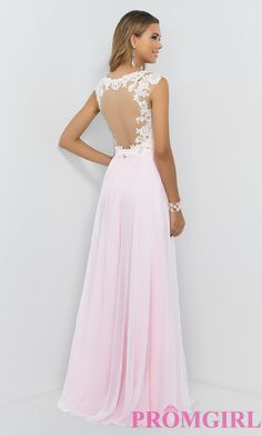 Image of Blush Cap Sleeve Pink Prom Gown 9986 Style: BL-9986 Back Image So pretty