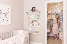 Baby Girl Nursery - Pink, Gold and Grey www.honestlyalexandra.com Nursery Closet Inspiration