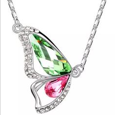Green & pink crystal 925 stainless steel plates Necklace as pictured colors May look slightly different than picture shows. Sometimes it is hard to get an accurate picture of colors Jewelry Necklaces