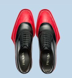 prada two-tone red and black Love the extended welt although it may feel weird to walk in. Very stiff.