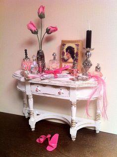 Barbie Miniature Lot Perfume Vanity,shoes,mail,letters,box by Piera 1:6 Scale #PieraArt