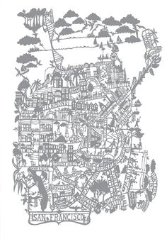 San Francisco Wall Art Decorative Map City Map Poster