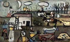 José Gurvich  (Lithuania, 1927 - 1974)  Kibutz  1957  Oil on board  Gift of the Robert Gumbiner Foundation  M.2004.004