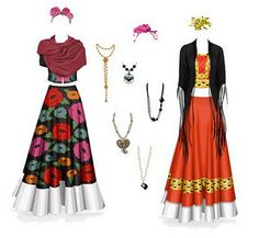 Frida Kahlo style outfits and jewelry - no paper doll Mexican Fashion, Mexican Style, Mexican Costume, Blue Lips, Mexican Dresses, Halloween Disfraces, Doll Patterns, Halloween Costumes, Halloween 20