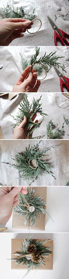 Make a cedar mini-wreath to add to your holiday gifts #giftpackaging