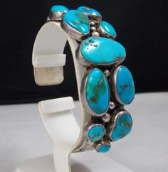 Vintage Navajo Sterling Silver and Turquoise Cuff Bracelet Signed GA