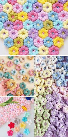 Puff Stitch Crochet, Crochet Puff Flower, Crochet Flower Tutorial, Crochet Quilt, Crochet Flower Patterns, Crochet Blanket Patterns, Crochet Motif, Crochet Designs, Crochet Flowers
