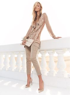 TWIN-SET Simona Barbieri: Caftan dress with arabesque embroidery, combat model trousers and clutch bag with bow