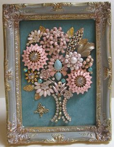 awesome Jeweled Framed Jewelry Flower Bouquet Pink Blue Vintage by post_link