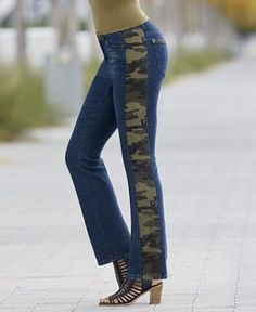 Camo Stripe Ankle Jean from Monroe and Main. Camo stripes and pocket trim say it all. Sits just below the waist; Weekend Fun, Ankle Jeans, Denim Fashion, New Look, Camo, Stripes, Skinny Jeans, Plus Size, Pocket