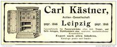 Original-Werbung/ Anzeige 1906 - PANZERSCHRÄNKE / TRESORE/ SAFE-ANLAGEN / KÄSTNER LEIPZIG - ca. 115 x 45 mm