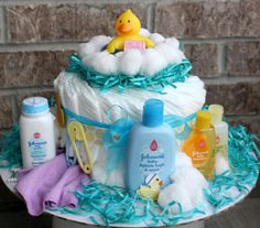 baby bath diaper cake my first time making one like this diaper cakes p. Black Bedroom Furniture Sets. Home Design Ideas