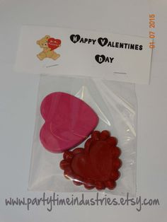 Valentines Day Heart Shaped Crayons in Bag by PartyTimeIndustries