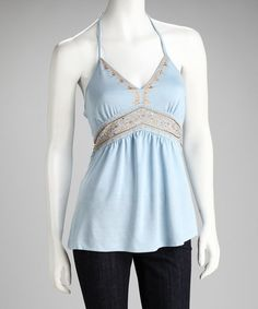 Take a look at this Tokyo Collection Baby Blue Embellished Halter Top by Tokyo Collection on #zulily today!