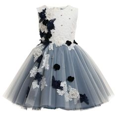 Lesy Girls Navy Blue & White Floral Embroidered Dress